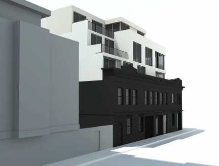 View from Sycamore Street of the proposed development at 645 Valencia St. Design by Kerman Morris Architects.