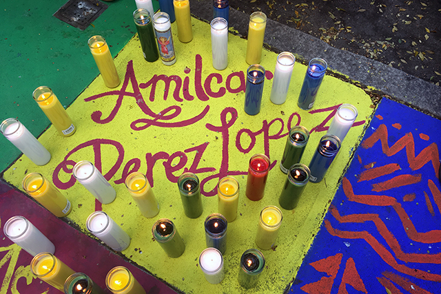 A vigil is held for Amilcar Perez Lopez. Photo by Laura Waxmann