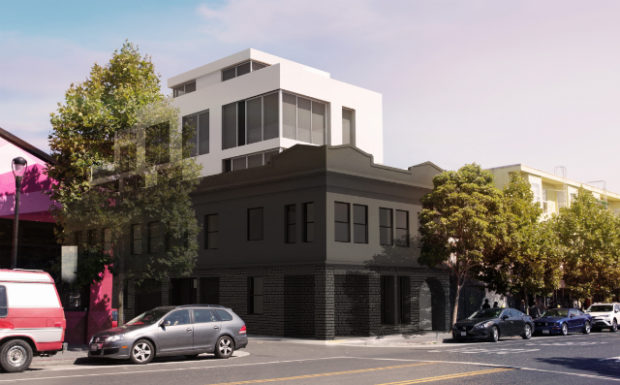 The proposed development incorporating the Elbo Room's building at 645 Valencia St. Design by Kerman Morris Architects.