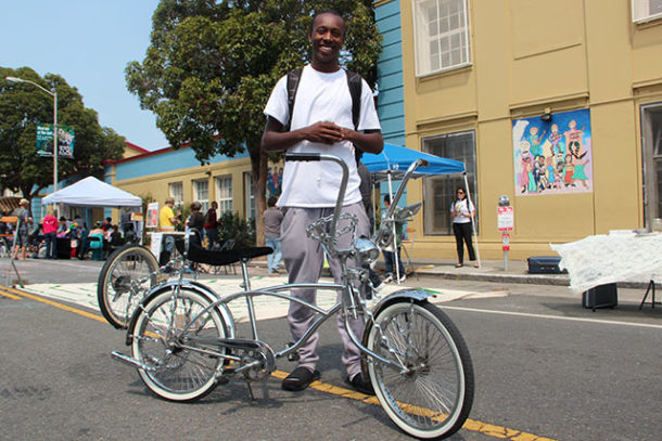 Veez and his low rider bike. The Oakland native builds the stylized bikes and shows them off at events like Sunday Streets.