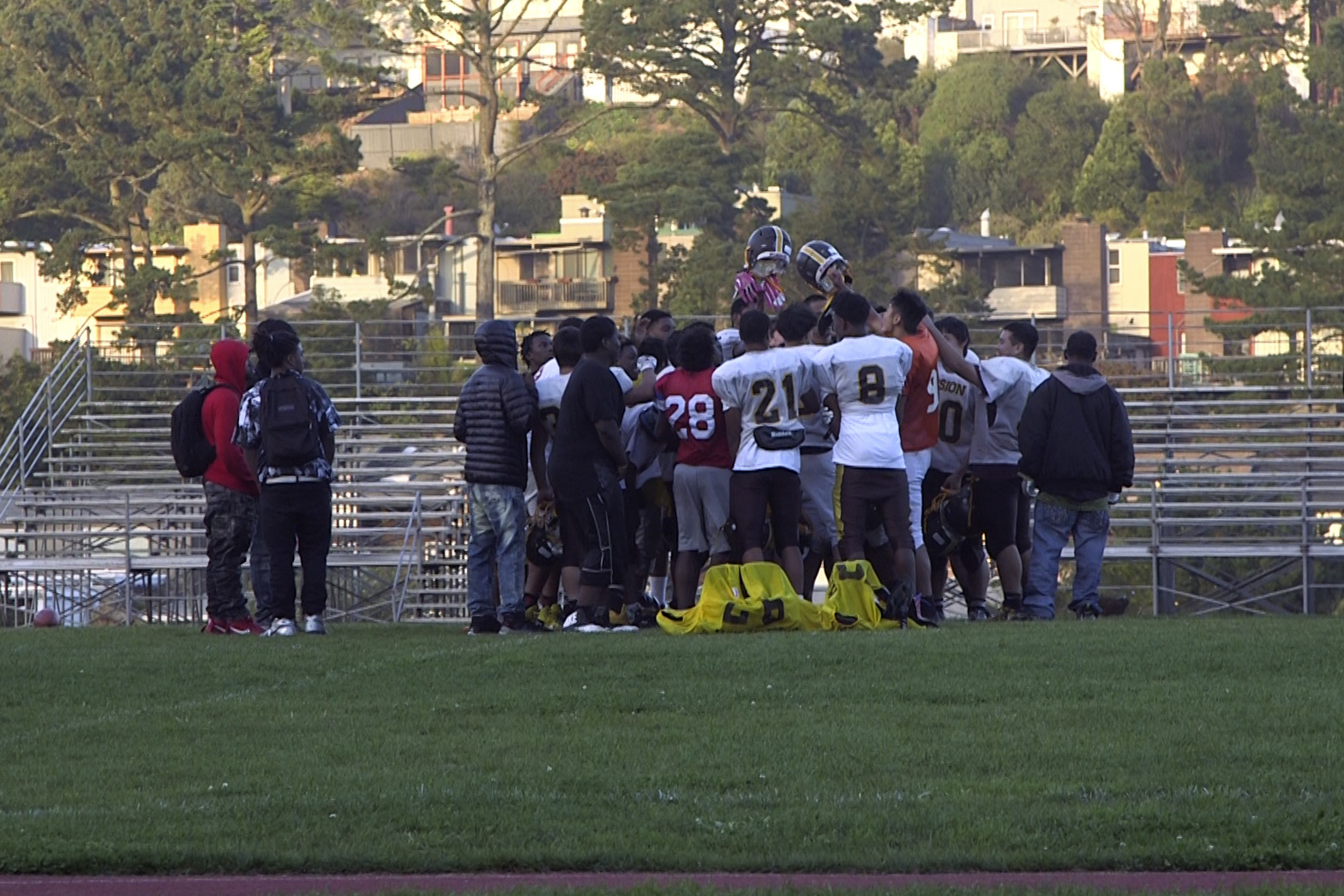 Mission High Football Players Kneel With Kaepernick