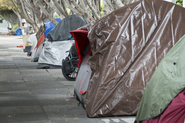 The encampment on 19th Street between Folsom and Harrison streets in September, before it was cleared on October 5. Photo by Lola M. Chavez