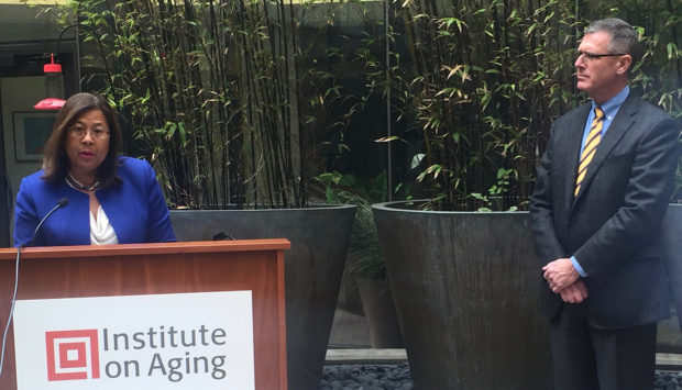State Controller Betty T. Yee and Thomas Briody -president and CEO of the Institute on Aging. Photo by Anna M. Clausen