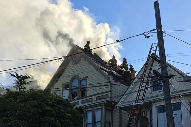 The fire at 157 Prospect Ave. in Bernal Heights on September 23, 2016. Photo by Joe Rivano Barros
