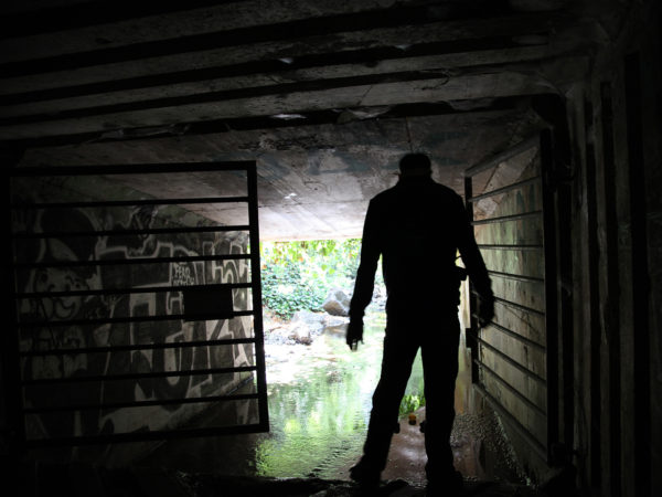 Scott Finsthwait explores tunnels at UC Berkeley.