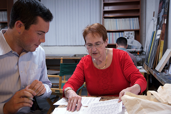 Ruth Lym trains a new volunteer at the Clinton/Kaine phone bank in the Mission. Photo by Alan Toth