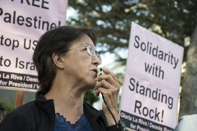 Gloria La Riva at Mark Zuckerberg's house protesting alleged Palestinian censorship. Photo by Lola M. Chavez