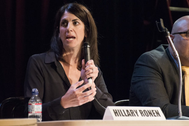 Hillary Ronen at the debate on Thursday, October 13. Photo by Lola M. Chavez