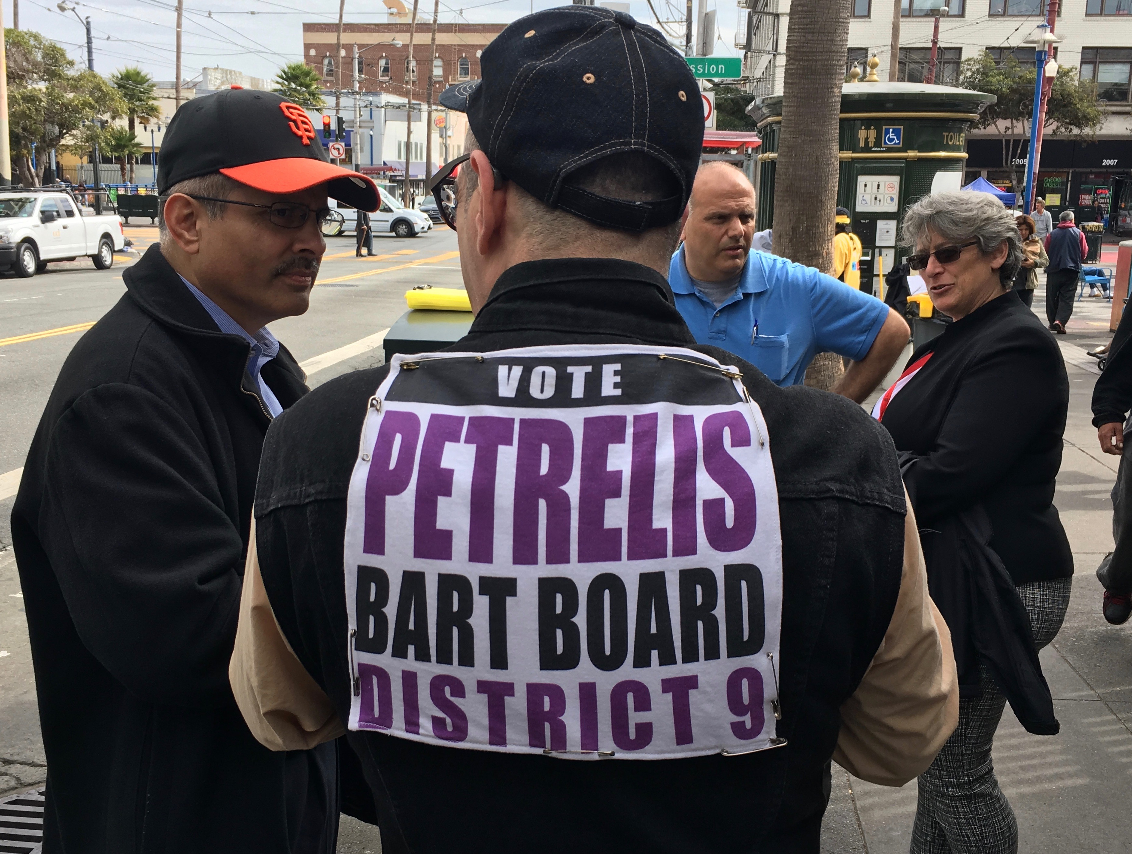 Michael Petrelist at the walking tour of the 16th Street Bart Station on October 13. Photo by Joe Rivano Barros.