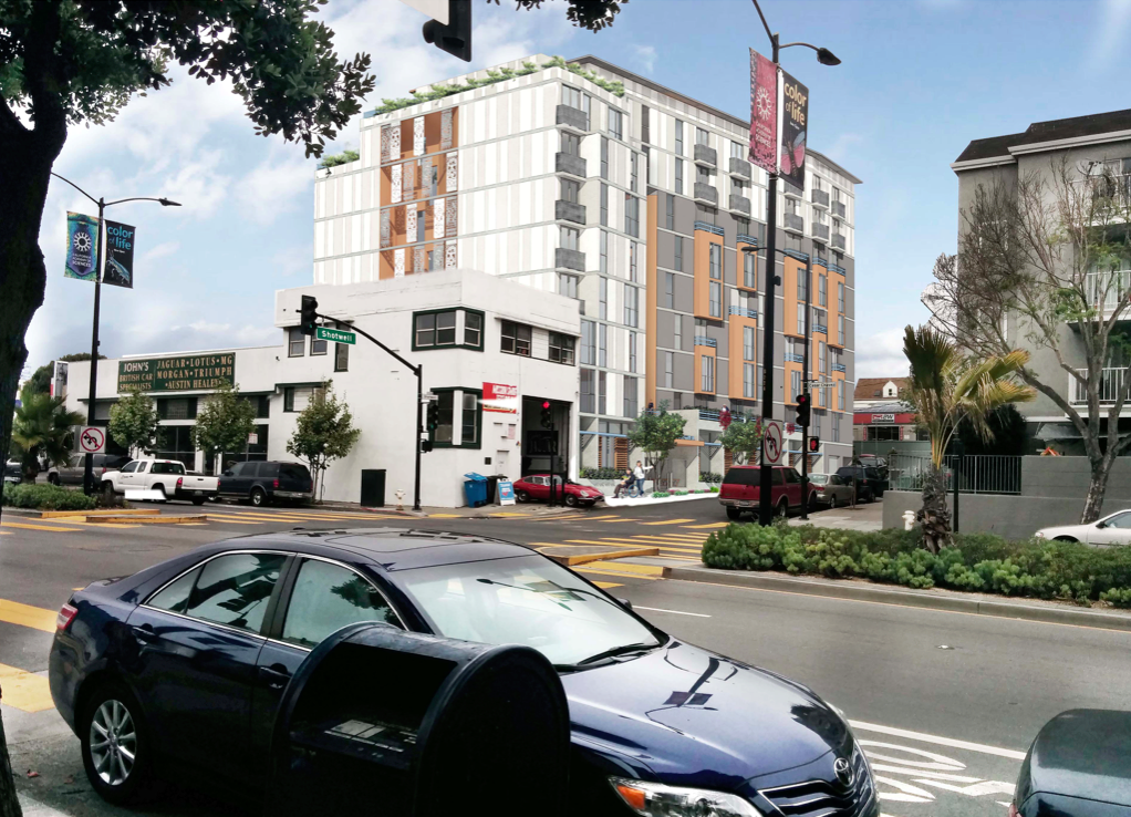 The view from Cesar Chavez Street of 1296 Shotwell St. Design by Herman Coliver Locus.