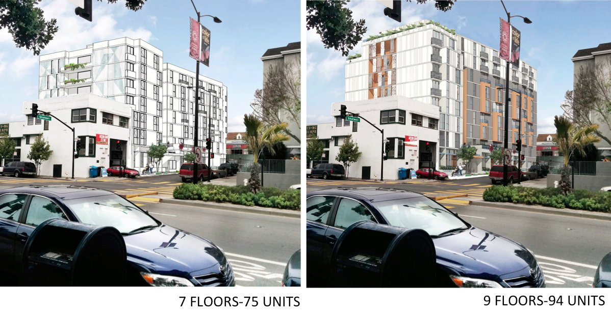 A comparison of the building at 1296 Shotwell St. at nine stories and seven stories. Design by Herman Coliver Locus.