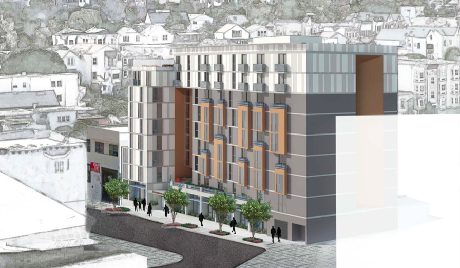 The project at 1296 Shotwell St. The white box on the right is the heigh of the proposed development at 1515 South Van Ness Ave. Design by Herman Coliver Locus.