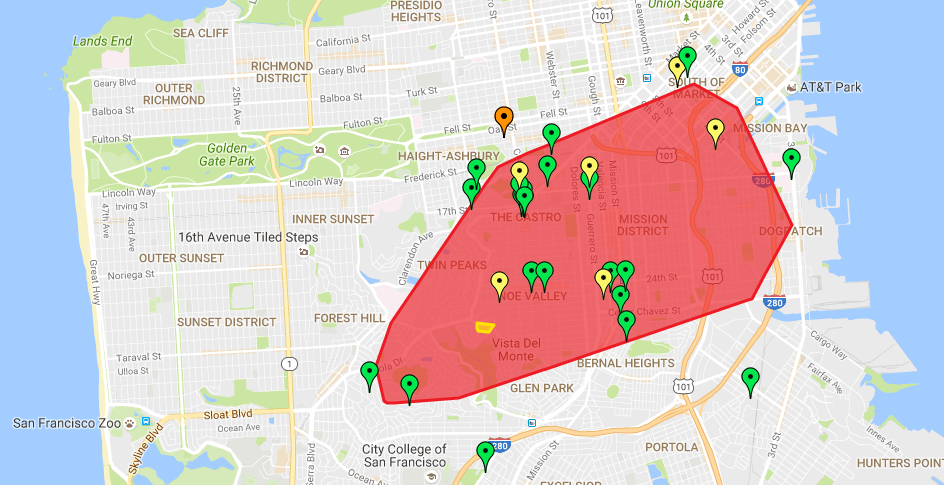 Large Swath of SF Mission District without Power