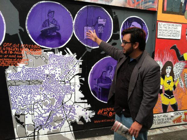 "Joe Fitz Rodriguez, a reporter with the San Francisco Examiner, touring Clarion Alley in the film ""Company Town."" Courtesy of Alan Snitow and Deborah Kaufman."