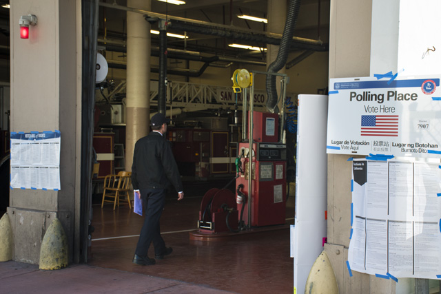 The fire station at 19th adn Shotwell streets on Election Day. Photo by Lola M. Chavez