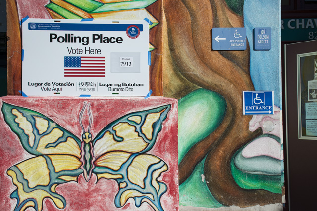 Cesar Chavez Elementary School on Election Day. Photo by Lola M. Chavez