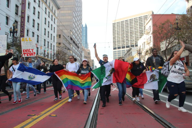 Students marching down Market Street in an anti-Trump protest on November 10, 2016. Photo by Joe Rivano Barros.