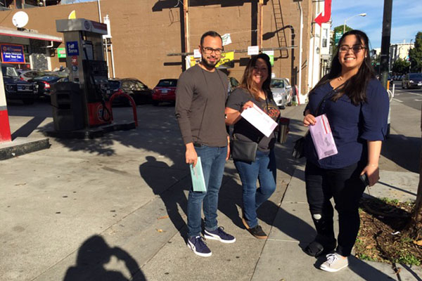 Octavio Sajun, Veronica Serrano and Samantha Peraza on their way to drop off their ballots.
