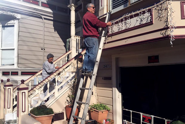 Maria and Rugelio have been putting up their lights.  Photo by Lydia Chávez