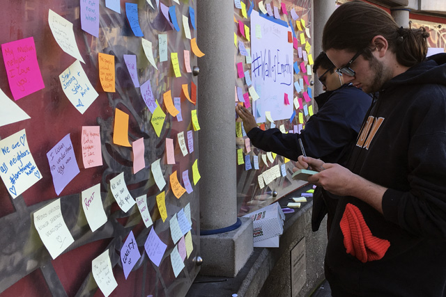 Wall of empathy at 16th BART station. Photo by Lola M. Chavez