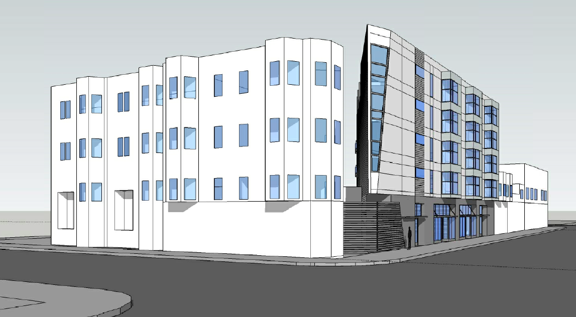 Mock-up of the project at 3236 24th St. on the corner with Capp Street Design by Weisbach Architecture & Design.