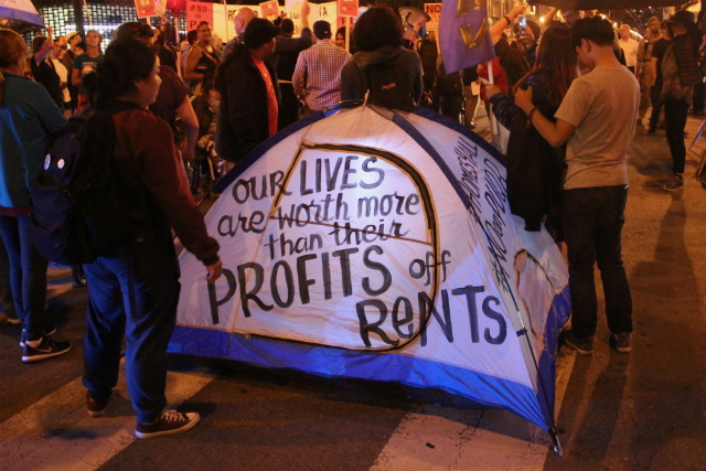Tents set down on 22nd and Mission streets on November 3, 2016, to protest housing propositions. Photo by Joe Rivano Barros.