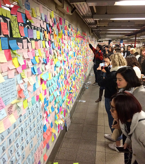 Notes of support in Union Square station in New York City. Photo by Evalynn Rosado