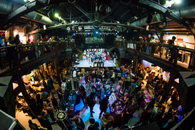 Attendees gather on DNA Lounge's several levels at the Punk-Metal Flea Market on Nov. 13, 2016. Photo by Geoffrey Smith for DNA Lounge