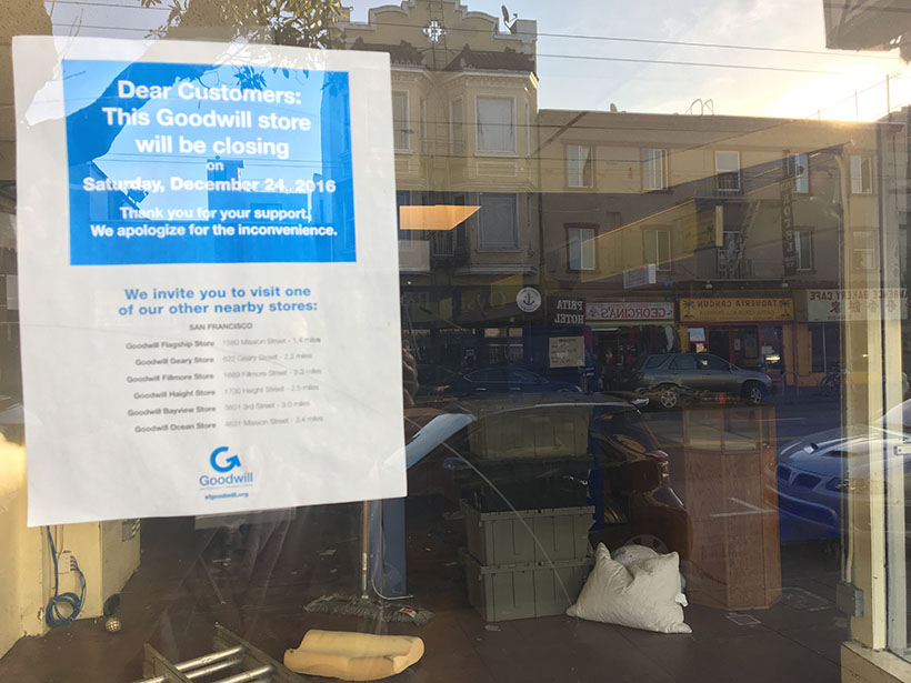 A notice in the window at a recently closed Goodwill.