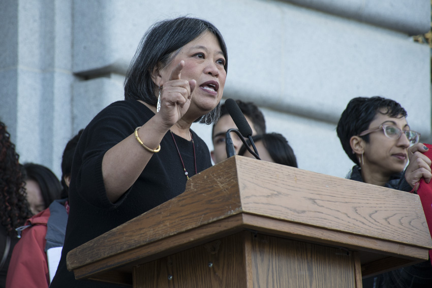 Supervisor Sandra Lee Fewer speaks at press conference addressing immigration and Trump outside City Hall. Photo by Lola M. Chavez