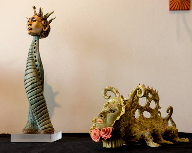 Irene Feiks was born in Mexico City. Her ceramic creatures, although modern, evoke the gods and symbols of ancient Mexico.