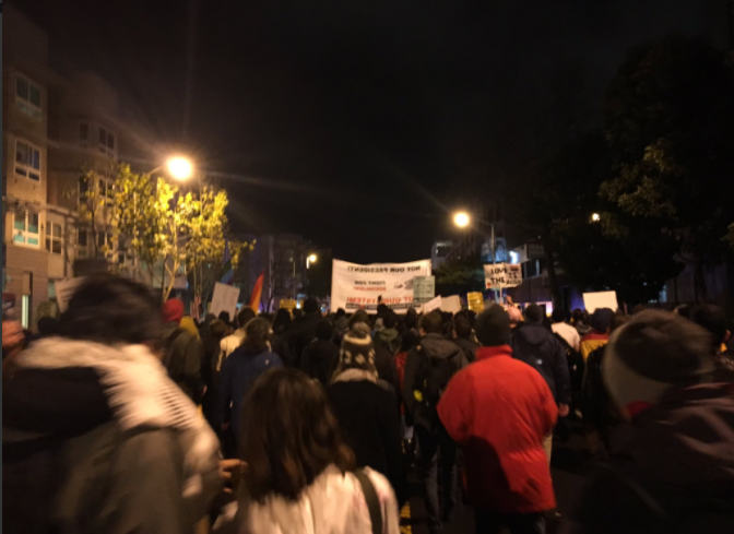 Trump Inaugural Protesters March Through the Mission