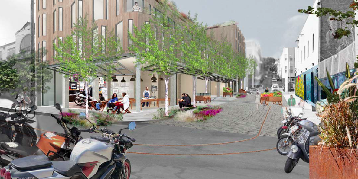 A mock-up of the living alley, one example of what Clinton Park could become. Design courtesy of DDG.