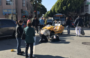 The car crash at 24th Street and South Van Ness Avenue on Sunday, January 15, 2017. Photo by George Lipp.