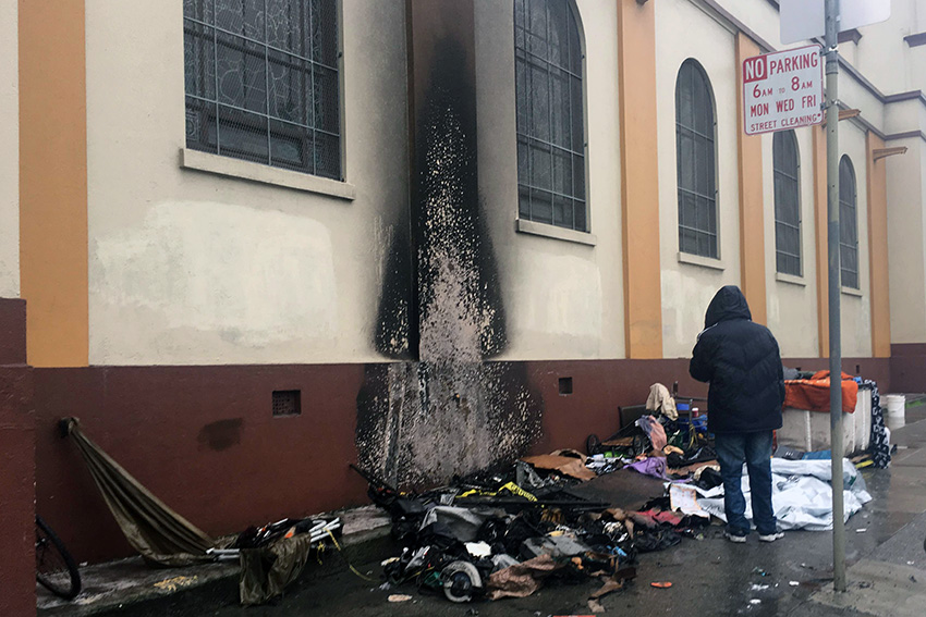 Mission Homeless Man Without Shelter After Tent Blaze, Possibly Arson