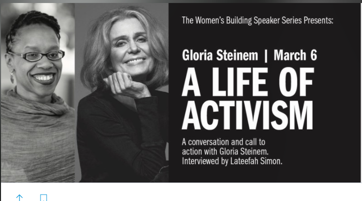 Gloria Steinem and Lateefah Simon Will be in the Mission Monday
