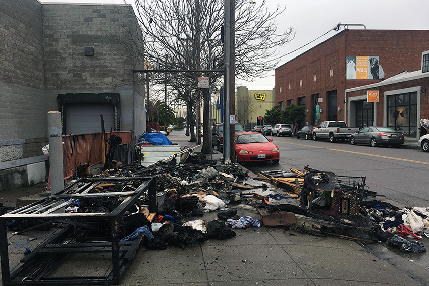 Fire Consumes Woman's Makeshift Shelter on 14th St.