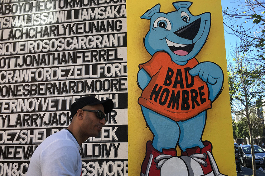 Sirron Norris reacts to Trump with Clarion Alley 'Bad Hombre' bear