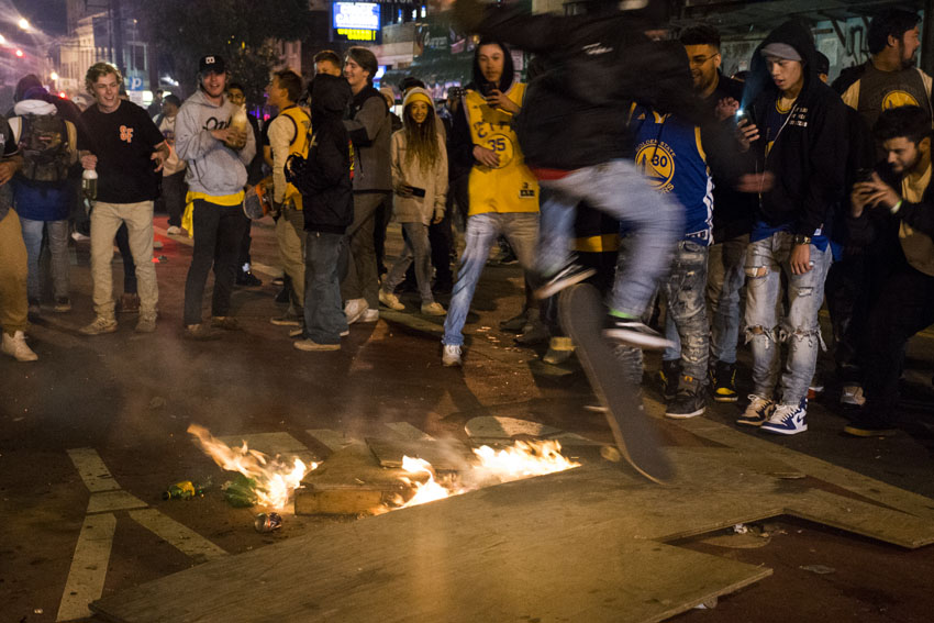 NBA finals from the Mission: Fans celebrate with bonfire in the street
