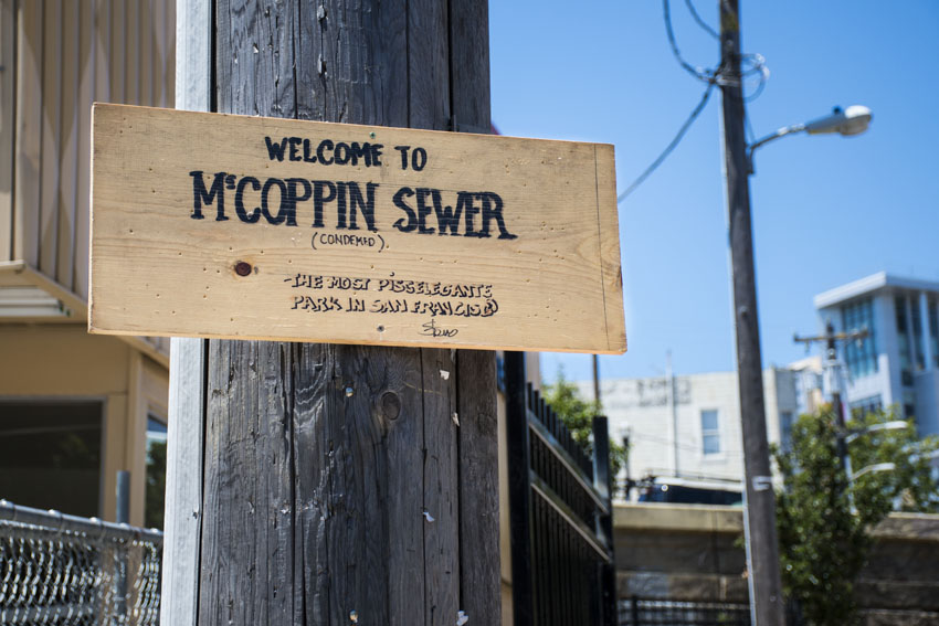 Signs placed in McCoppin Hub as fence goes up