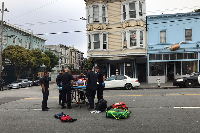 Woman cyclist hit at 16th and Albion streets