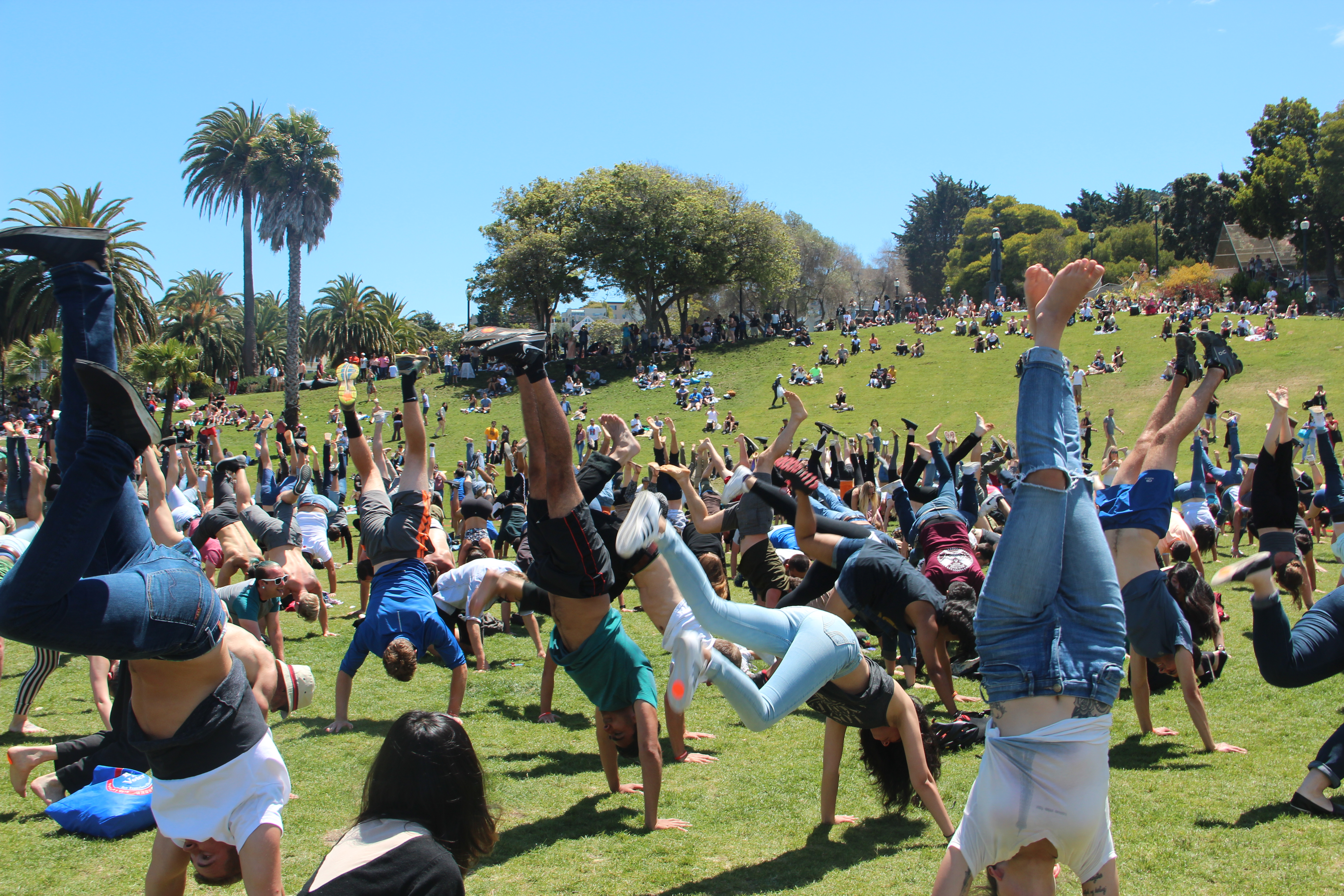 Updated: 427 people do handstands in Dolores Park to break a world record
