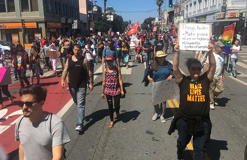 Protesters fill the Mission District in a day of peaceful rallies and marches