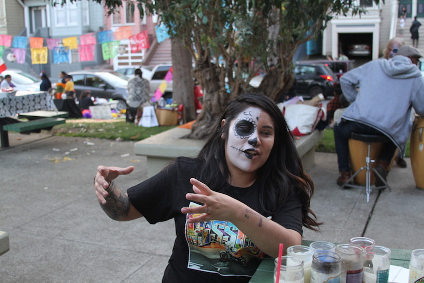 Angie Cabrera at the Dia De Los Muertos celebration at Garfield Square in the Mission.
