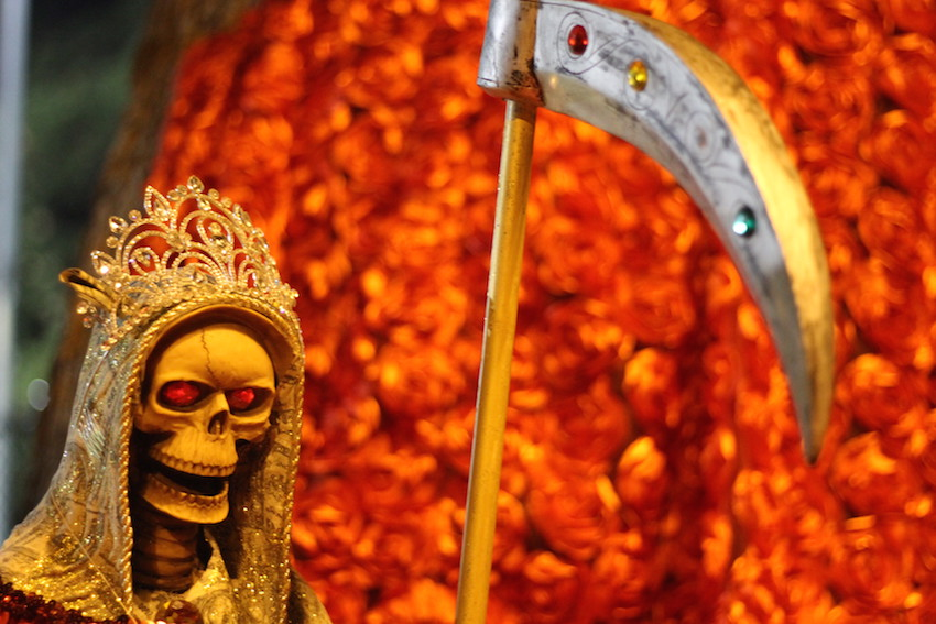 Detail of the Santa Muerte altar, which was created by Axel Madrid and two companions.