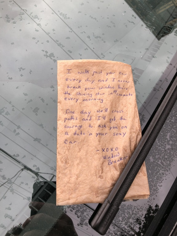 'Window breaker' spares car in the name of love
