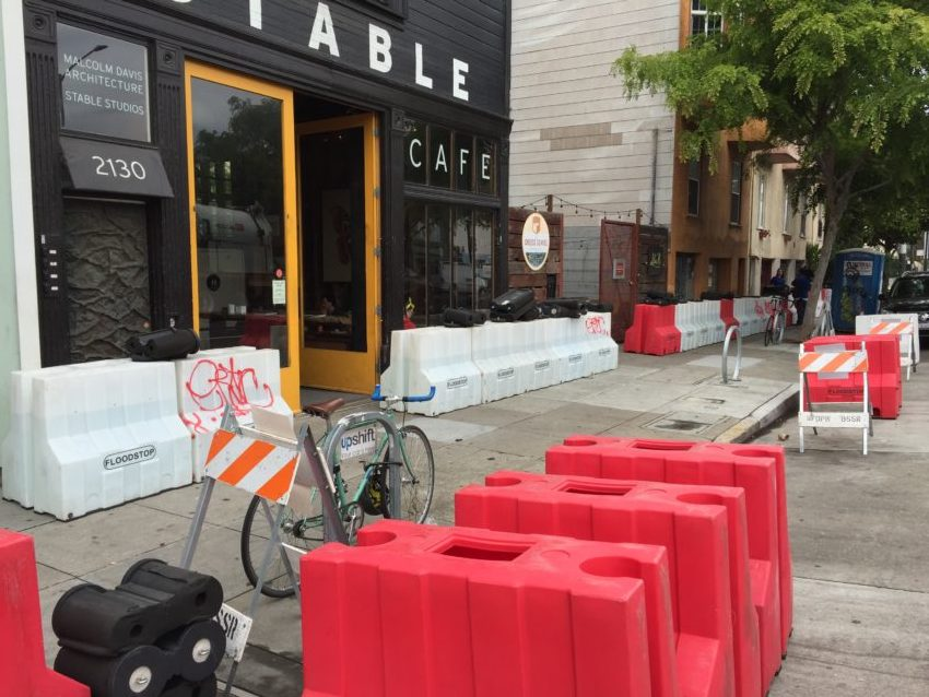 'Atmospheric river' prompts flood barriers at 17th and Folsom