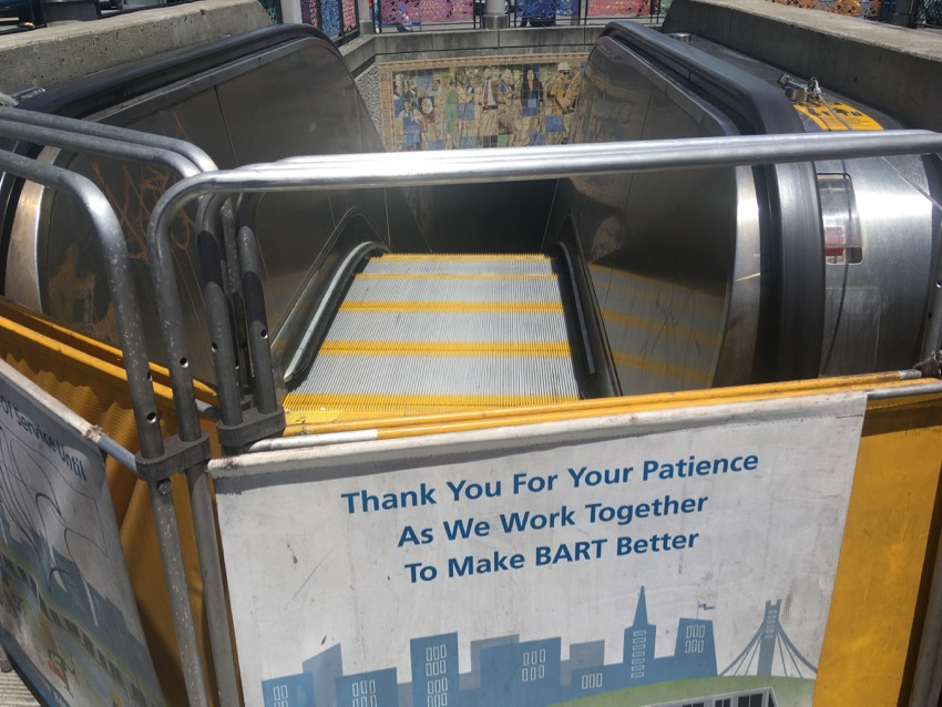 Once again at the 16th Street BART station escalator — Evaluating!
