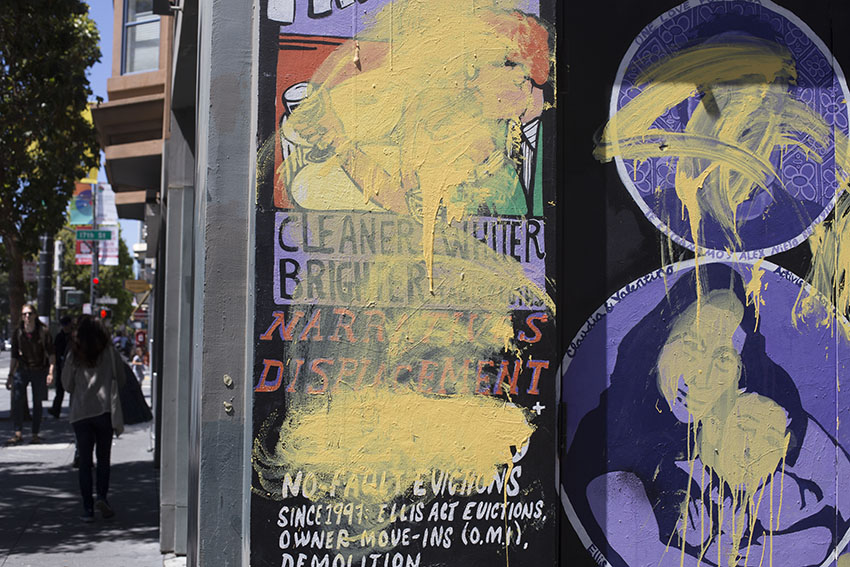 SNAP: 'Narratives of Displacement' mural and others vandalized on Clarion Alley