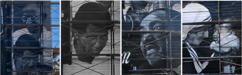 Striking new mural of Gandhi, Cesar Chavez, MLKJ, Mother Teresa is funded by one of Mission's most detested landlords, Kaushik Dattani